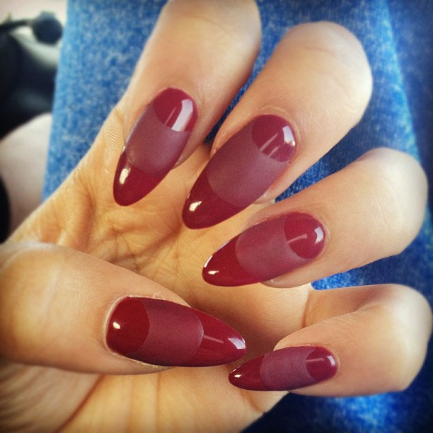 ... design to her nails with a contrast of matte and shiny nail polishes