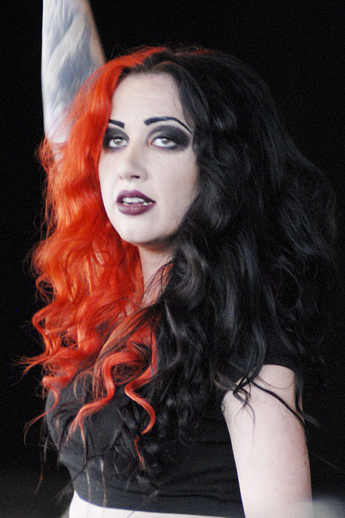 Ash Costello Curly Black Orange Split Color Two Tone Hairstyle