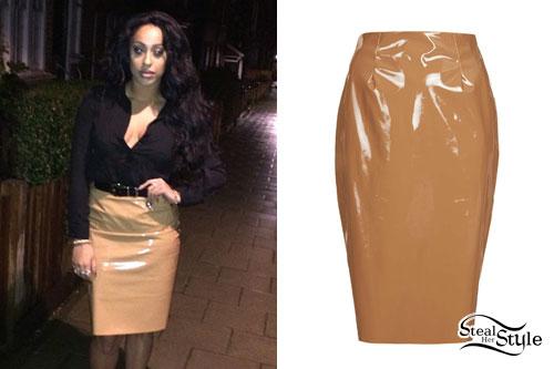 Alexandra Buggs: Tan Vinyl Pencil Skirt