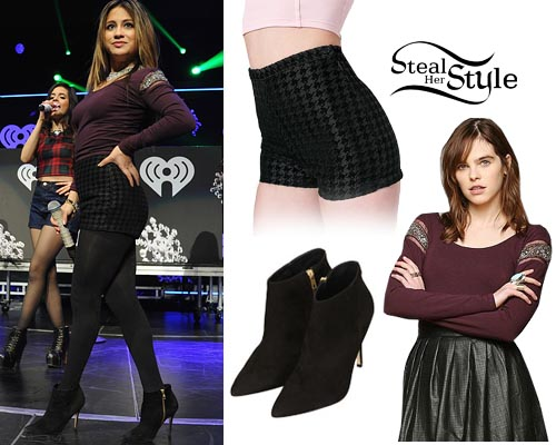 Ally Brooke: Houndstooth Shorts Outfit | Steal Her Style Fifth Harmony Ally Outfits