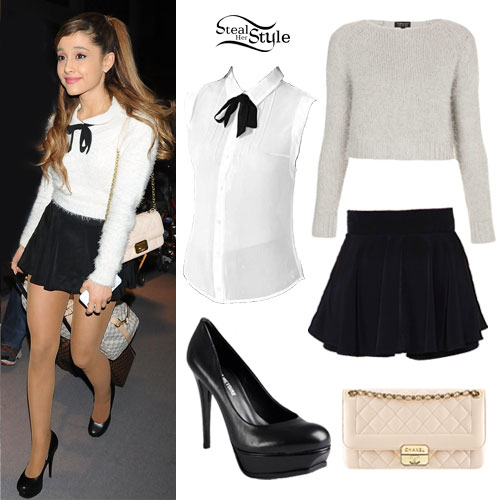 ariana grande fuzzy sweater quilted bag  steal her style