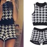 Ariana Grande: Houndstooth Sweater & Shorts