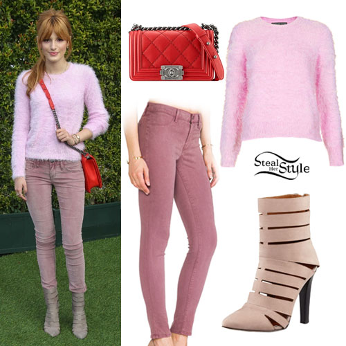 Bella Thorne: Pink Jeans, Cutout Booties
