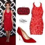 Bella Thorne: Red Textured Sequin Dress