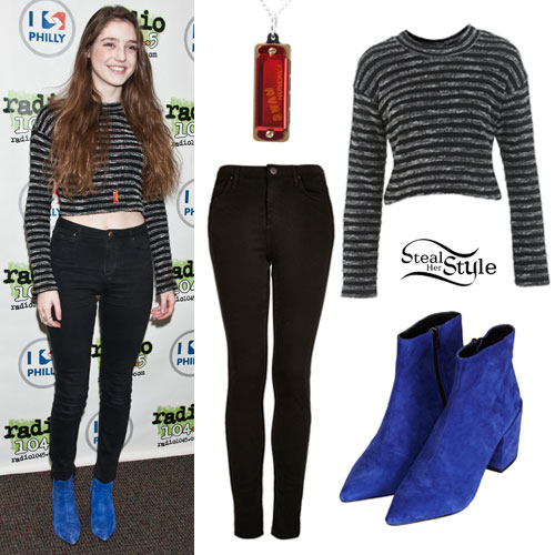 Birdy: Stripe Sweater, Blue Suede Boots
