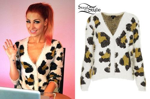 Bonnie McKee: Fuzzy Leopard Cardigan