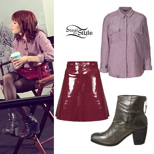 Carly Rae Jepsen: Red Vinyl Skirt, Silver Boots
