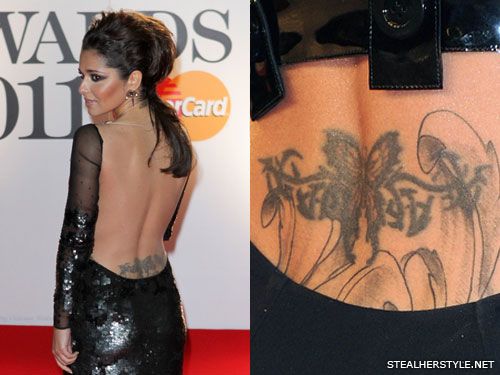 Cheryl Cole butterfly lower back tattoo