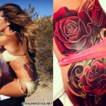 Cheryl Cole roses butt tattoo
