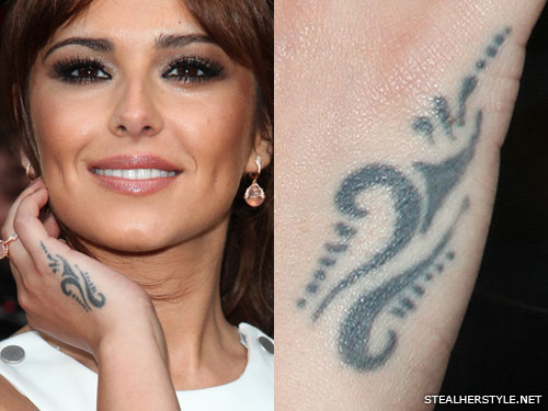 Cheryl Cole tribal hand tattoo
