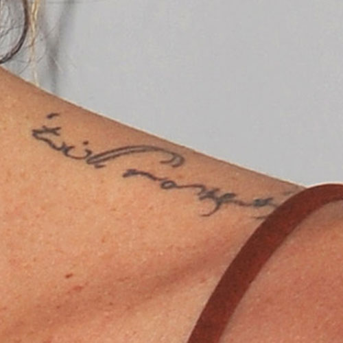 Erin Wasson Writing Upper Shoulder Tattoo Steal Her Style