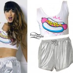Foxes: Hot Dog Crop Top, Silver Shorts