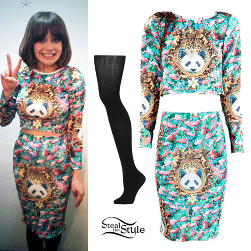 Gabrielle Aplin: Panda Flamingo Print Top & Skirt