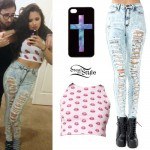 Jasmine Villegas: Destroyed Acid Wash Jeans Outfit