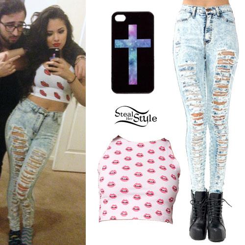 Jasmine Villegas: Destroyed Acid Wash Jeans Outfit