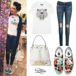 Jessie J: Tiger Tee, White Bucket Bag