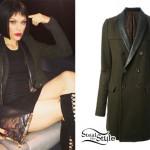 Jessie J: Leather Trim Olive Coat