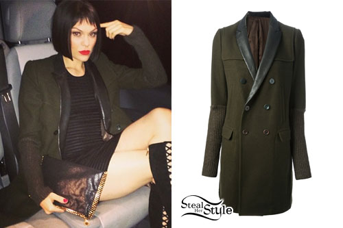 Jessie J: Leather Trim Olive Coat