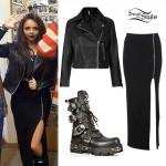 Jesy Nelson: Leather Jacket, Black Maxi Skirt