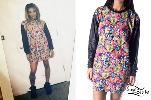 Karis Anderson: Leather Sleeve Floral Sweater