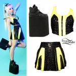 Kerli: Black and Yellow Studded PVC Top and Skirt