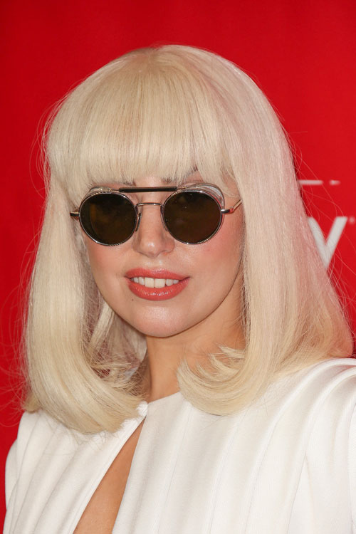 Lady Gaga Straight Platinum Blonde Inward Curl Straight
