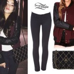 Madison Beer: Burgundy Varsity Jacket