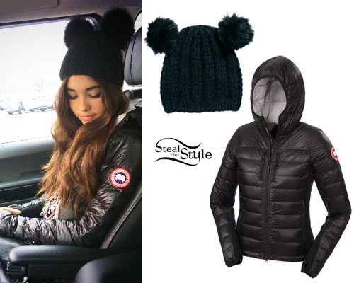 Canada Goose kids online authentic - Madison Beer: Down Jacket, Ear Beanie | Steal Her Style