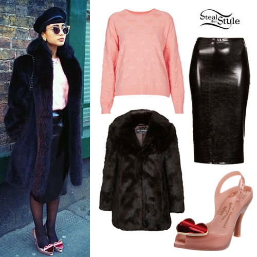 Natalia Kills Pink Hearts Sweater & Pumps