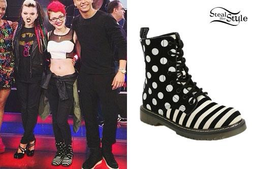 Nia Lovelis: Black & White Stripe Boots