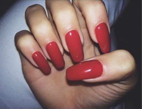Long Red Square Nails | www.imgkid.com - The Image Kid Has It!