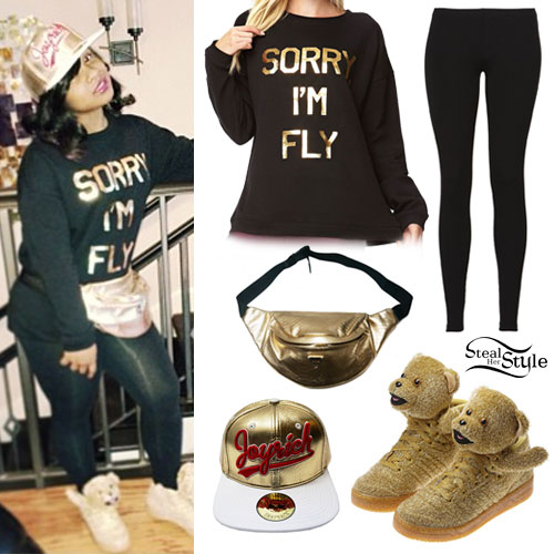 Reginae Carter: Teddy Bear Sneakers Outfit