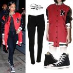 Rihanna: Oversized Varsity Jacket Outfit