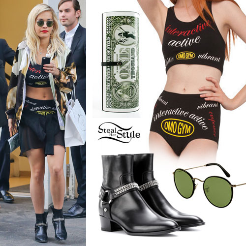 Rita Ora: Omo Gym Top & Shorts, Chain Boots