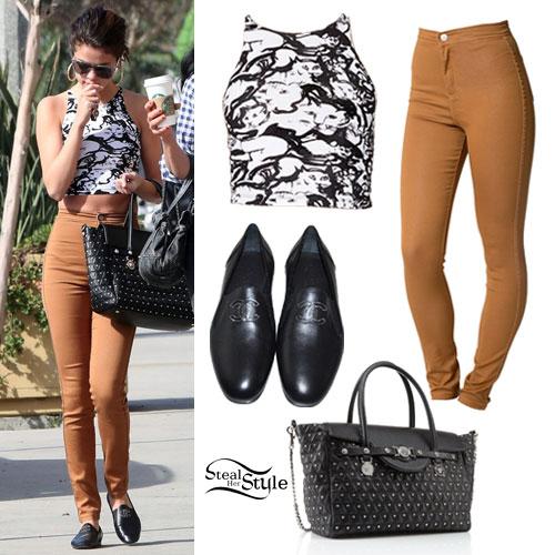 Selena Gomez: Printed Crop Top, Tan Jeans