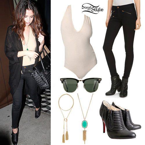 Selena Gomez: Nude Bodysuit, Zip Jeans
