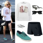 Taylor Swift: Cat Sweater, Floral Keds