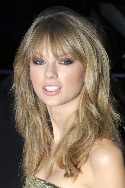 Taylor Swift Wavy Ash Blonde Choppy Bangs Choppy Layers