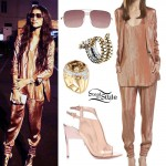 Zendaya: Gold Metallic Jacket & Joggers