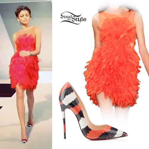 Zendaya: Red Feathery Dress, Snake Pumps