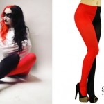 Ash Costello: Red & Black Two-Color Tights