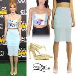 Bella Thorne: Printed Bustier, Pencil Skirt