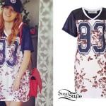 Bella Thorne: Floral Athletic Jersey Dress