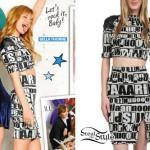 Bella Thorne: Letter Print Crop Top & Skirt