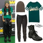 China McClain: Gangsta Tee, Leather Pants