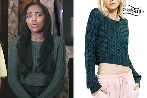 China McClain: Green Cropped Sweater