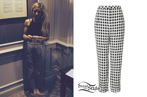 Ellie Goulding: Black & White Gingham Pants