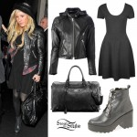Ellie Goulding: Hooded Leather Jacket Outfit
