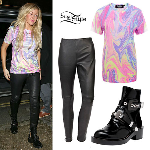 Ellie Goulding: Marble T-Shirt, Leather Pants