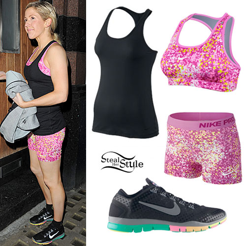 Ellie Goulding: Pink Print Workout Outfit
